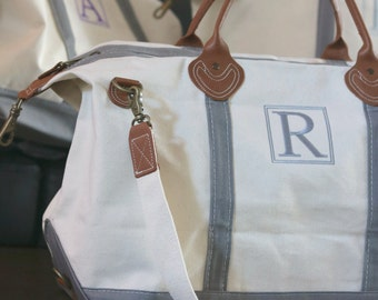 Sale! Monogrammed Weekender Bag - Grey Monogrammed Duffle Bag - Monogrammed Overnight Bag - Carry ON Bag - Bridal Gift