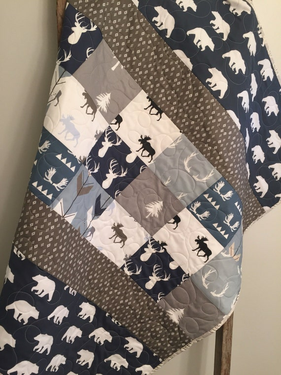 Woodland Baby Quilt Baby Boy Bedding Moose Buck Antlers Etsy