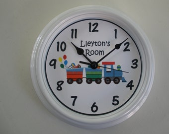 PERSONALIZED WALL CLOCK for Child's Room Train Filled With Presents