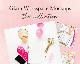 Mockup Collection with Pink and Gold Desktop   Styled Stock Mockup Bundle   Flat Lay Styled Mockups   Glam Workspace   Pink and Gold   Fun