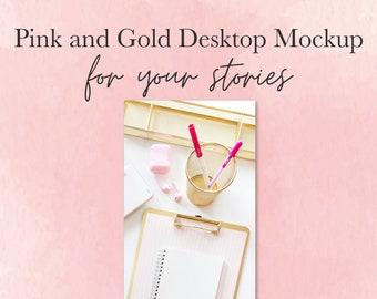 Mockups for feminine brands   Glam Workspace Mockup   Styled Stock Image  Styled Mock-Ups for IG Stories   Glam Workspace   Pink and Gold