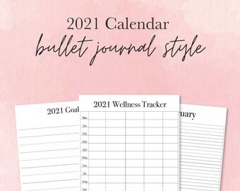 2021 Bullet Journal Kit - 2021 Planner Printable – Monthly Calendars - Download - Lined – BUJO