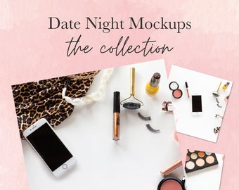 Mockup Collection with cosmetics celebrating Date Night  Mockups with iPhone   Beauty Vlogger Mockups   Mockup Cheetah Fabric   Flat Lay  