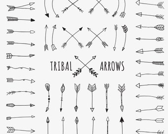 Tribal Arrows Clip Art, Doodle Arrows, Hand Drawn, 52 png images, aztec, black and white, tribal archery, scrapbook - Commercial Use