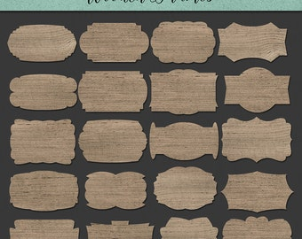 Frame Clip Art Wood Labels Digital Banner Clipart Tags Rustic Texture Wedding