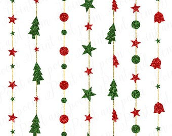 50 OFF SALE Christmas Clip Art Glitter Ornaments Lights Clipart Stars String Red And Green Holiday
