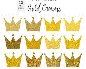 gold glitter crowns clip art instant download ca027 etsy