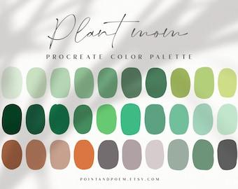 Procreate Palette   Color swatches   Plant Mom   Botanical Foliage Green Nature   iPad lettering, illustration, procreate tool, digital