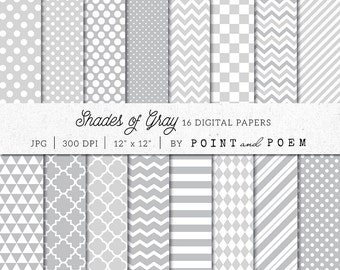 Gray Digital Paper Pack, Shades of Gray Scrapbook Paper Pack, Neutral, Chevron, Polka dot, Stripes - Commercial Use
