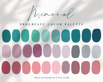 Procreate Color Palette   Color swatches   Mineral   Teal Pink Emerald   iPad lettering, illustration, procreate tool, digital art