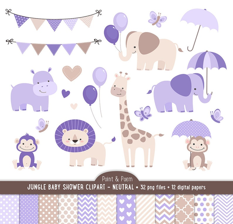 Jungle Clip Art Digital Papers Baby Shower Purple Baby Etsy