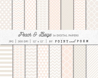 Wedding Digital Paper, Peach and Beige, Ivory, White, Cream, Tan, Damask, Backgrounds - Commercial Use