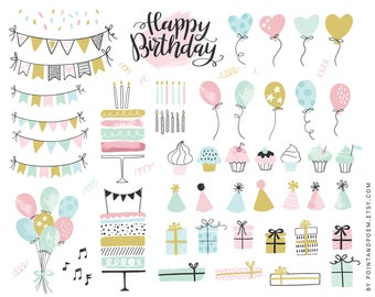 Birthday Clipart | Party Clip art | Commercial use hand-drawn Clipart | Cupcake Clipart, Balloon, Bunting banners | Instant Download