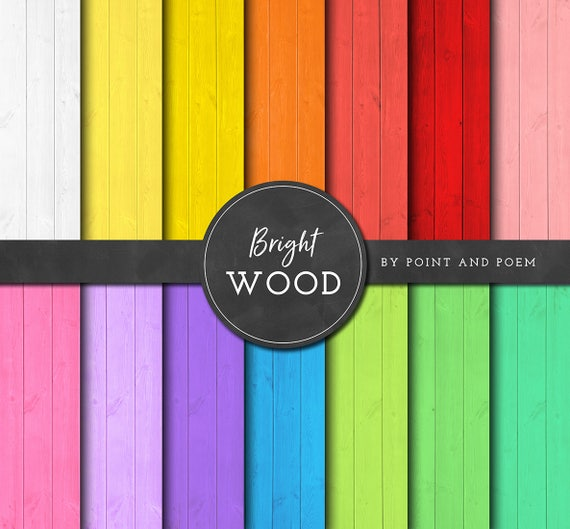 Wood Digital Paper, Wood Textures, Bright Rainbow, Colorful, Wood Paper - Commercial Use