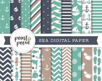 Nautical Digital Paper, Sea, Coastal, Sailing, Summer Vacation, Scrapbooking, Mint Navy Beige - Commercial Use