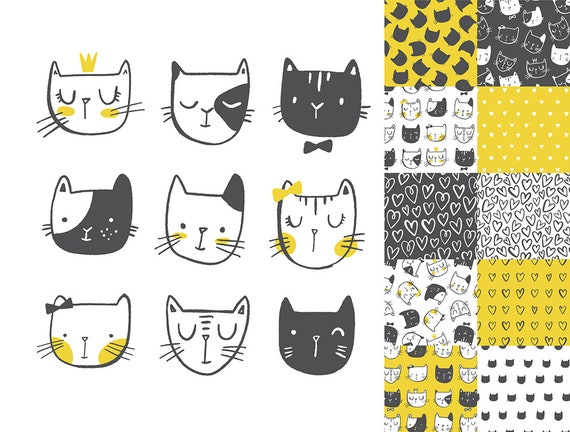 Clipart di gatto e carta digitale Doodle Cat faces ClipArt e carta digitale set senape gialla e nera uso commerciale
