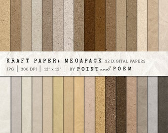 50% OFF SALE Kraft Digital Paper, Scrapbooking Paper, Cardboard Backgrounds, Brown Paper Printables, Blogs - Commercial Use