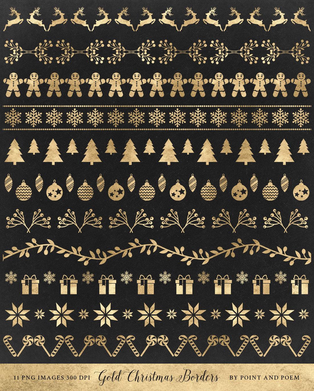 Weihnachten Clip Art Gold Grenzen Clipart Bänder Text   Etsy