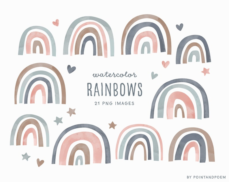 Watercolor Design elements Commercial Use Baby shower Clipart Watercolor Rainbow Clipart hand painted rainbow nursery art