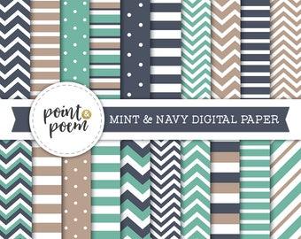 Navy Mint Green Digital Paper, Nautical Sea, Coastal, Sailing, Summer Vacation, Scrapbooking - Commercial Use