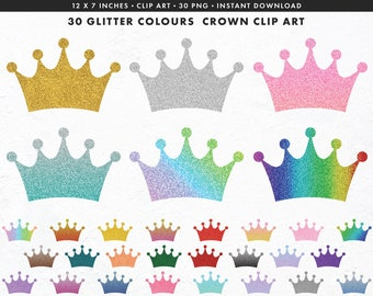 Crown clipart, crown cliapart, glitter crown clipart, crown digital stickers, crown PNG, glitter sparcle, Commercial use, Instant Download