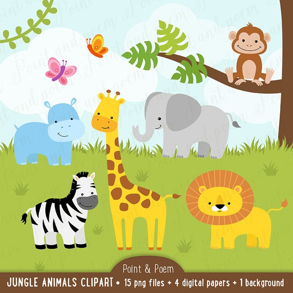 Jungle Clip Art Animals Clip Art Digital Papers Baby Etsy