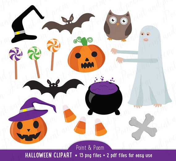 Halloween Clip Art Owl Clipart Spooky Pumpkin Witch Haunted Etsy