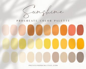 Procreate Color Palette   Color swatches   Sunshine   Warm Bright Summer   iPad lettering, illustration, procreate tool, digital art
