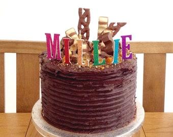Glitter letters cake topper - rainbow birthday cake topper - wedding initials, name or monogram
