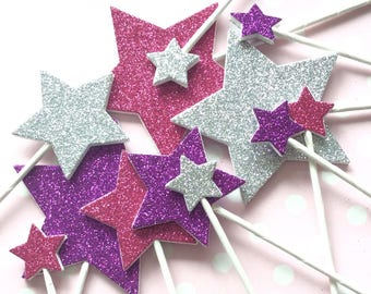 Pink, purple & silver glitter stars cake toppers - girl's birthday cake - stars for cupcakes - baby shower decor - birthday party food picks