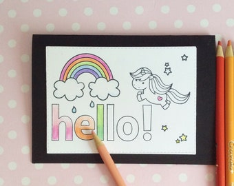 Hello cards with unicorns and rainbows to colour in yourself! Coloured or black outline. Pack of 5.