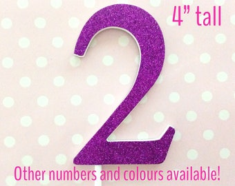 2nd birthday cake topper - large glitter number - cake smash props - giant number 2 cake topper - 6, 7, 8, 9 - purple, gold, silver, blue
