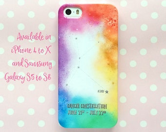 Cancer constellation phone case - iPhone X, Samsung S7 Plus and more - personalised snap-on phone case - rainbow colour - Zodiac gift