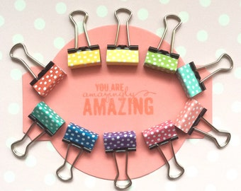 Rainbow binder clips - 10 mini spotty clips - perfect for going back to school