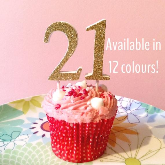 21 Cake Topper Glitter Number Cake Topper 21st Birthday
