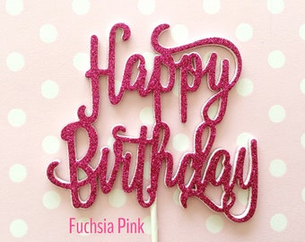 Happy birthday cake topper - glitter cursive script - available in gold silver pink turquoise black blue white purple etc