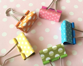 Dotty foldback clips for office desk decor - colourful stationery supplies in yellow, pink, turquoise, green & orange