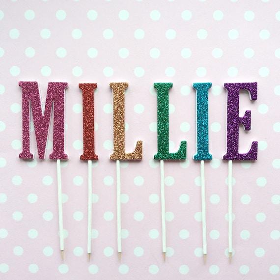 Glitter Letters Cake Topper Rainbow Birthday Cake Topper Etsy