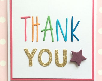 Children thank you cards - colourful teacher thank you card pack. Rainbow typography set. Perfect for kids to show their appreciation!