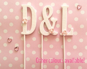 Wedding cake topper initials - glitter letter cupcake monogram - personalised engagement party decorations - custom white, ivory, gold, pink