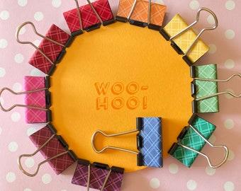 Autumn plaid binder clips in a rainbow of tartan. 32mm medium fold back clips