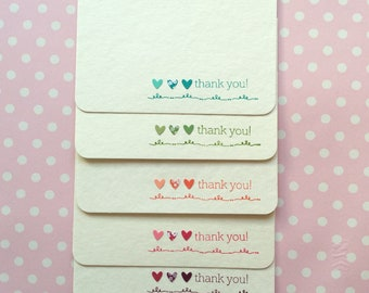 Thank you cards pack. Great as a wedding, bridesmaid, birthday, or baby shower thank you cards set. Available in teal, pink, coral and more.