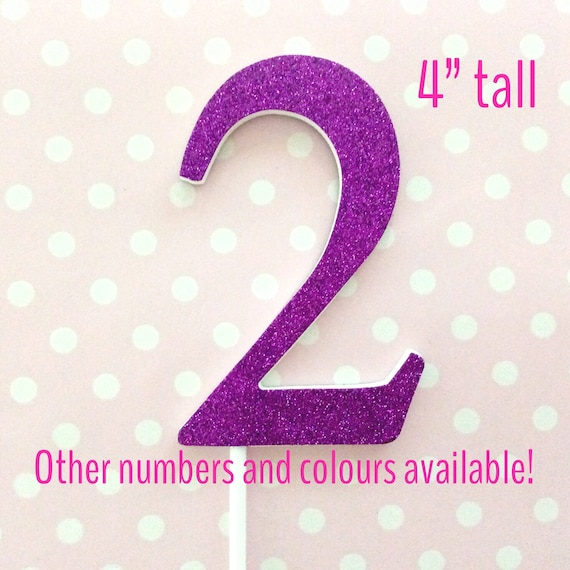 2nd Birthday Cake Topper Large Glitter Number For Smash