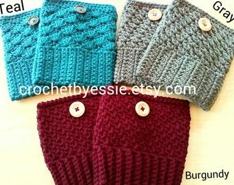 Crochet Boot Cuffs = 3 Choices