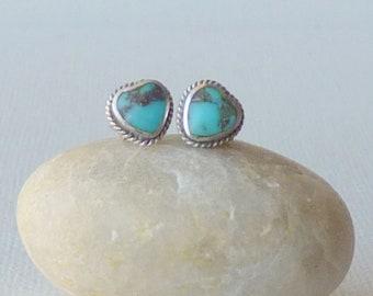 Vintage Turquoise Heart Southwestern Stud Earrings Petite Pierced Southwestern Navajo Turquoise Heart 925 Navajo Minimalist Turquoise Silver