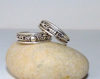 925 Minimalist SZ 3 Rings 925 Jewelry 2 Sterling Silver Toe Rings Size 3-4 Toe Rings Petite Set Of Two Ring  925 Braided Toe Beach Rings