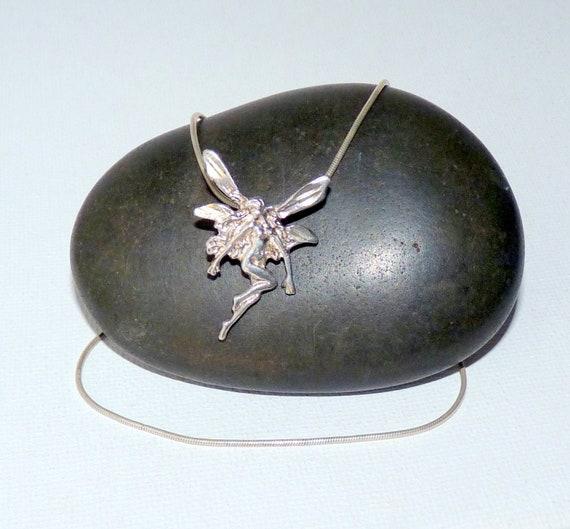 """Sterling Silver Fairy Pendant 16 1/2"""" Chain Neckla"""