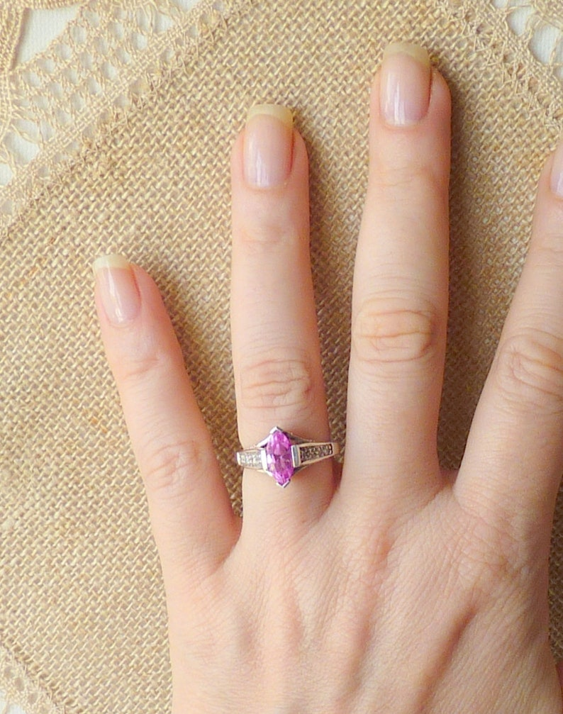 Sterling Silver Pink Marquise Ring Size 5 34 Cubic Zircon Ring 925 Pink Crystal Jewelry Avon Sterling 925 Cubic Zircon Avon Jewelry 925