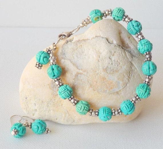 Sterling Silver Turquoise Bracelet Vintage Curved