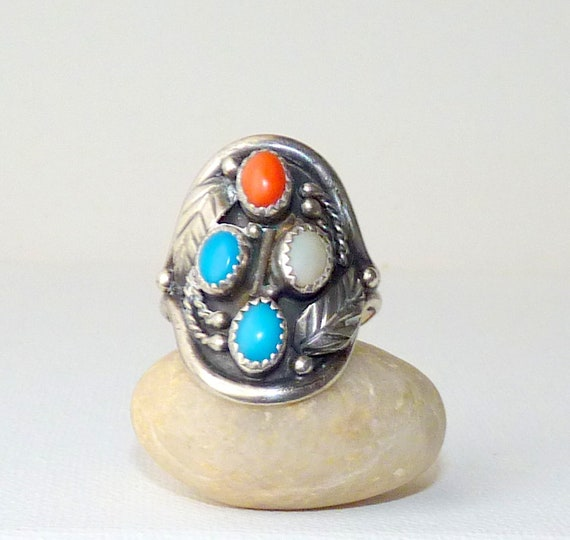 Sterling Silver Turquoise Ring Vintage Southwestern 925 Sterling Turquoise Navette Ring Native American Sterling Turquoise Ring